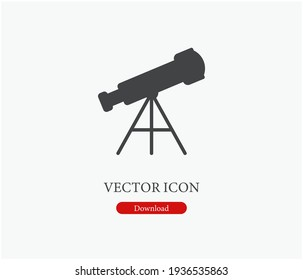 Telescope vector icon.  Editable stroke. Linear style sign for use on web design and mobile apps, logo. Symbol illustration. Pixel vector graphics - Vector