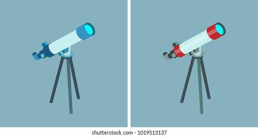 Telescope vector isometric icons