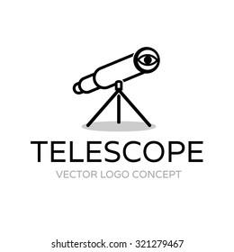 Telescope. Vector logo template