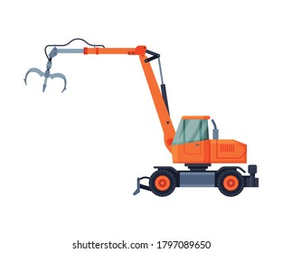 Telescopic Grapple Bulldozer, Special Industrial Machinery Flat Style Vector Illustration on White Background