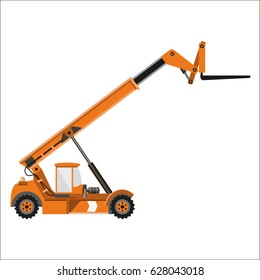 Telescopic handler equipped with fork. Vector illustration, side view.