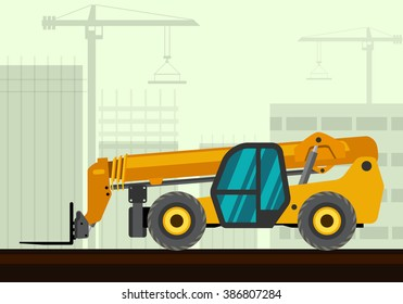 Telescopic handler with fork industrial crane with construction background. Side view crane vector illustration