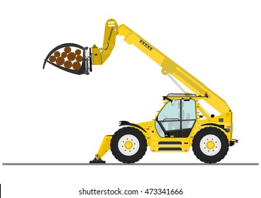 Telescopic handler with log and pipe grapple on a white background. Flat vector