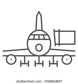 Telescopic ladder for plane thin line icon, airlines concept, airbridge vector sign on white background, telescopic ladder outline style for mobile concept and web design. Vector graphics.