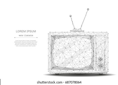Television. Abstract mash line and point retro tv on white background with an inscription. Starry sky or space, consisting of stars and the universe. Vector technology illustration