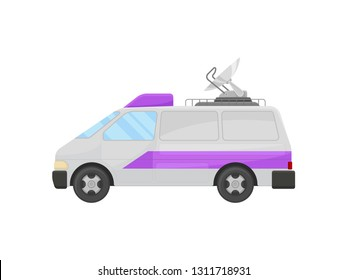 Television broadcasting van with satellite dish antenna on roof. Broadcast vehicle. Flat vector design