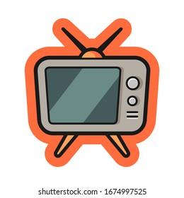 Television cartoon illustration design for sticker or t shirt