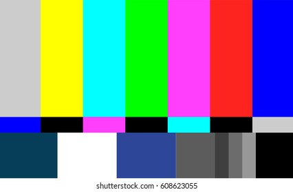 Television Colored Bars Signal. No Signal TV Test Pattern Vector.  Introduction And The End Of The TV Programming. SMPTE Color Bars Illustration.