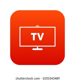 Television icon digital red for any design isolated on white vector illustration