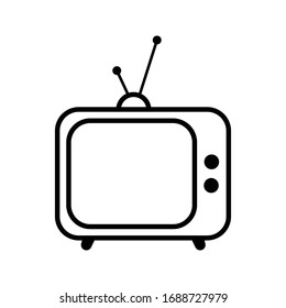 Television icon outline isolated vector illustration