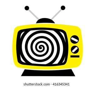 Television as influential mass media - hypnotic spiral on the screen. Metaphor of mind control, propaganda, brainwashing and manipulation caused by watching TV and mainstream broadcasting