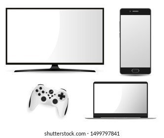 Television Laptop Smartphone and Game Control Mockup. Vector Flat Smart Tv Screen. Realistic Led Notebook Pc Portable Computer. Cell Telephone Template. Play Station Joystick Console