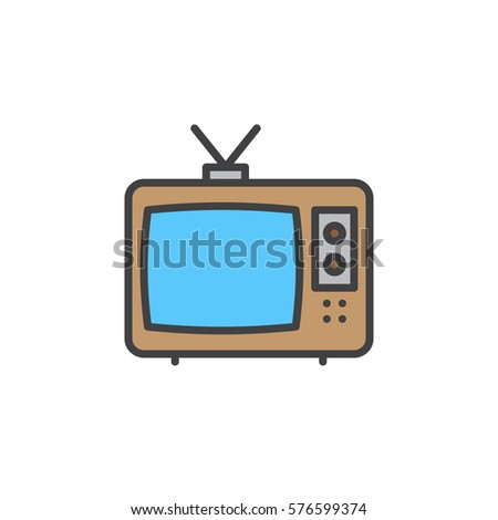 Television Line Icon Filled Outline Vector Stock Vector Royalty