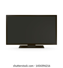Television Mockup. Realistic vector illustration. Black LCD screen with plastic stand isolated on white background. Template for room interior. Empty widescreen monitor for your presentations or news.