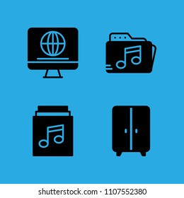 television, music folder, music album and closet icons vector in sample icon set for web and graphic design
