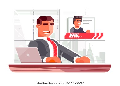 Television news announcer vector illustration. Man presenter sitting in studio of TV breaking news flat style concept. Newscaster communicating with correspondent in live