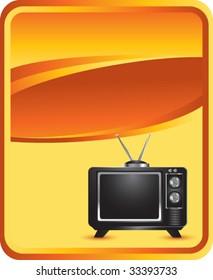 television on orange background