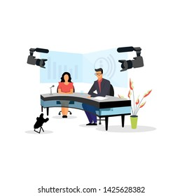 Television presenter, journalists at news studio flat vector illustration. Newscasters broadcasting, recording report. Breaking news, press, TV industry. Journalists, reporters, anchors characters