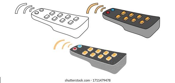 television remote vector design. black and white. digital hand drawn. grain texture