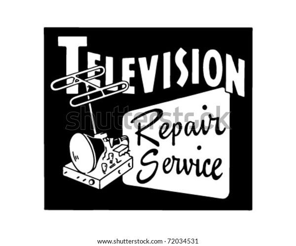 Television Repair Service - Retro Ad Art Banner