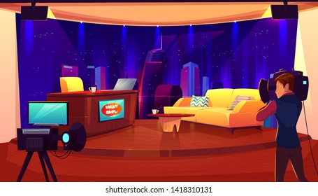 Television studio with camera, lights, table for newscaster, couch for interview and recording TV program, show. Broadcasting room interior, shooting cameraman, stage, Cartoon vector illustration