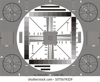 Television test card or pattern. TV Resolution test charts