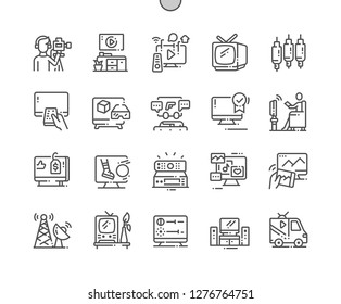 Television Well-crafted Pixel Perfect Vector Thin Line Icons 30 2x Grid for Web Graphics and Apps. Simple Minimal Pictogram