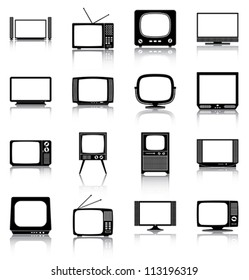 Televisions - 16 icons/ silhouettes of retro and modern televisions.