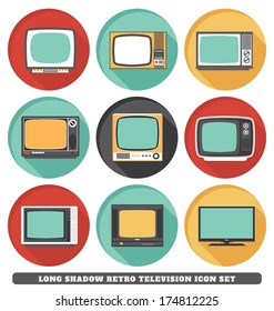 Televisions - Long Shadow Retro Icon Set