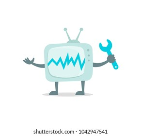 Televisor character with face, legs and hands. Repair set. TV fixing with wrench set 404 character set with wrench spanner repairs. Color vector illustration stock.