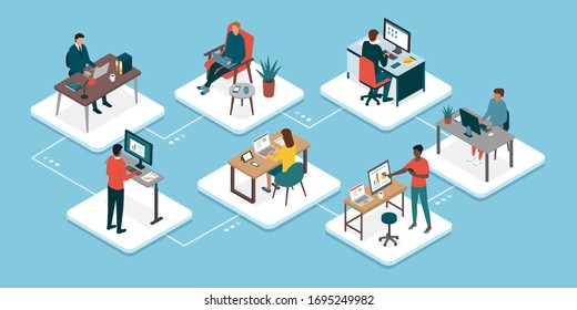 Teleworking and business teamwork: professional workers connecting with their computers and working with their colleagues online, working from home concept