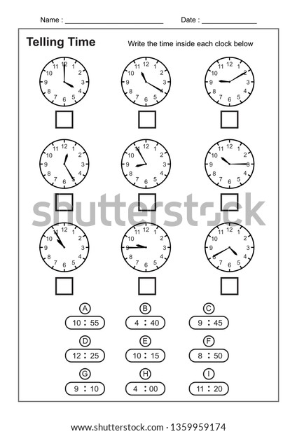 Telling Time Telling Time Practice Children Stock Vector