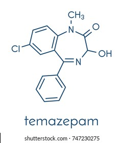 Temazepam benzodiazepine drug molecule. Used as hypnotic, anxiolytic and anticonvulsant drug. Skeletal formula.