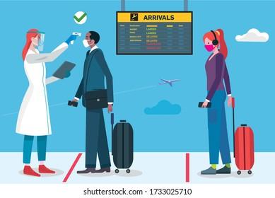 Control de temperatura para el pasajero en la puerta de llegada. Seguridad de salud del aeropuerto para Covid-19. Un personal médico con equipo de protección toma la temperatura de los pasajeros después de aterrizar en el aeropuerto.