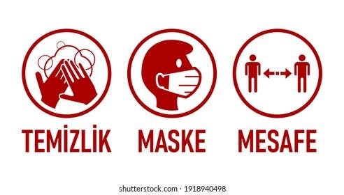"Temizlik Maske Mesafe (""Hygiene, Face Mask, Social Distancing"" in Turkish) Coronavirus Covid-19 Measures and Warning Icon Set with Text. Vector Image."