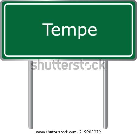 Tempe Arizona Road Sign Green Vector Stock Vector Royalty Free