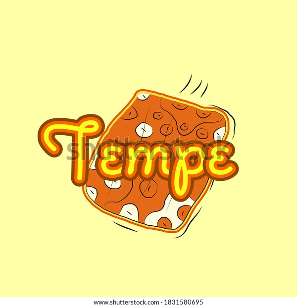 tempe is mean traditional indonesian food icon, logo, sign