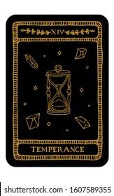 Temperance. Hand drawn major arcana tarot card template. Tarot vector illustration in vintage style with mystic symbols, crystals and line art stars. Witchcraft concept for tarot readers