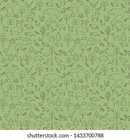 Temperate broadleaf forest and mixed forest biome seamless pattern.Terrestrial ecosystem world map. Simple outline graphic design. Vector illustration