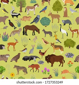 Temperate and dry steppe biome, natural region seamless pattern. Prarie, steppe, grassland, pampas. Animals, birds and vegetations ecosystem design set. Vector illustr
