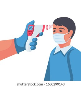 Temperature check. Doctor holding a non-contact thermometer in hand. Mask on the face. Coronavirus prevention. Epidemic 2019-ncov. Vector illustration flat design. Isolated on white background.