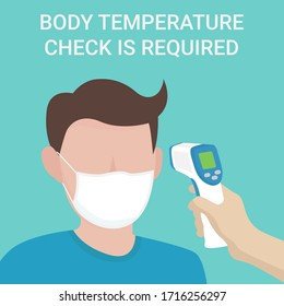 temperature check illustration. Man measuring body temperature and wearing a face mask vector illustration