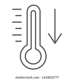 Temperature falling thin line icon, thermometer and forecast, cold temperature sign, vector graphics, a linear pattern on a white background, eps 10.
