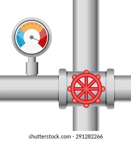 Temperature gauge with pipe and valve