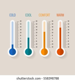 Temperature measurement from cold to hot, thermometer gauges set vector illustration. Temperature thermometer comfortable.