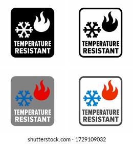 """""""Temperature resistant"""" materials, components, coats information sign"""
