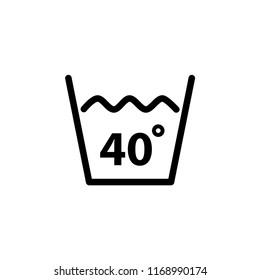 Temperature wash icon label sign