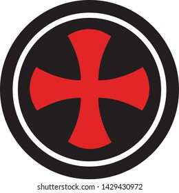 Templar Cross Shield logo. Vector graphics for t-shirt prints, apparel, etc