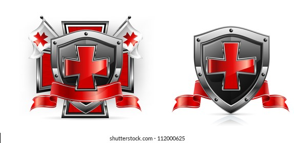 Templar emblem, cross, shield, sword and ribbon, vector illustration
