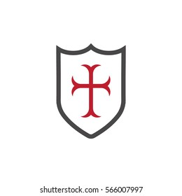 Templar Shield With Red Cross, vector icon